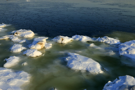 ice and snow by the sea, natural scenery