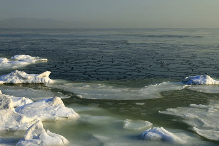 polar environment: ice and snow by the sea, natural scenery