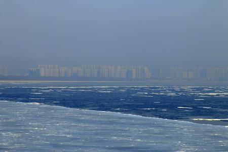 predicament: city in sea ice and fog, natural scenery