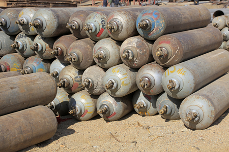 compressed: Compressed gas cylinders, closeup of photo