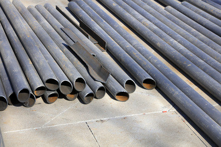 steel pipe: Steel pipe pile in the construction site, closeup of photo