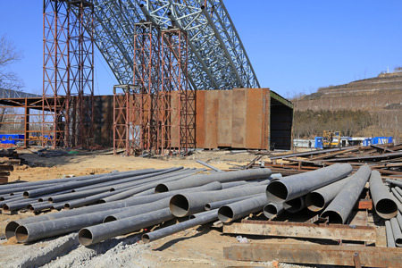 Steel truss and steel pipe in the construction site