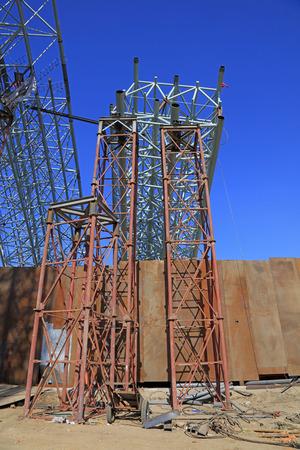 truss: Steel truss in construction site