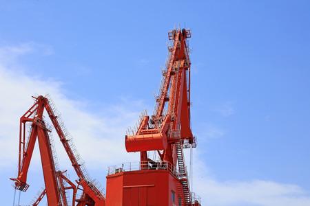 red crane boom, closeup of photo Stock Photo