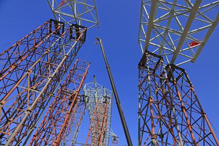 truss: Truss girder and crane under blue sky