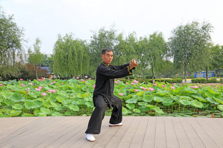 LUANNAN COUNTY - July 16: people practicing taichi on July 16, 2016, Luannan county, Hebei Province, China Editorial