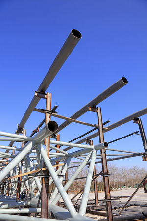 Steel tube truss on construction sites, closeup of photo Stock Photo