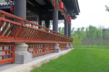 tenon: Chinese traditional architecture pillar and handrail