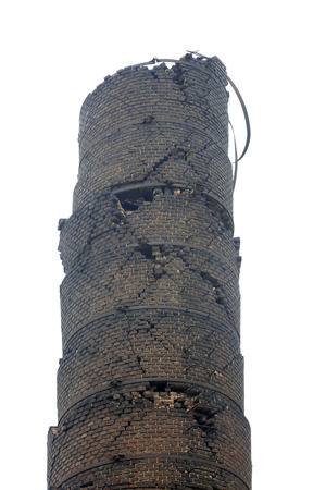 tangshan city: Tangshan City - July 8: Ruptured industrial chimney, Tangshan earthquake museum, on July 8, 2016, Tangshan city, Hebei province, China