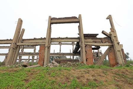tangshan city: Tangshan City - July 8: Broken workshop framework, Tangshan earthquake museum, on July 8, 2016, Tangshan city, Hebei province, China