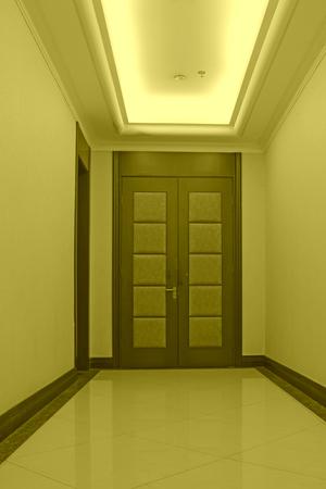 droplight: hotel corridor door, closeup of photo Editorial