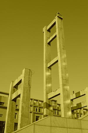 concrete building under the blue sky, closeup of photo