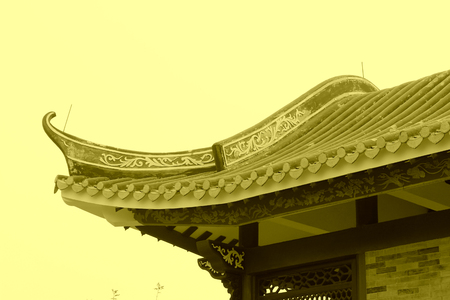 eaves: Chinese architectural style eaves, closeup of photo