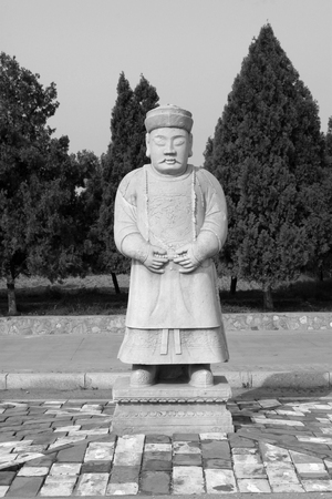 disrepair: ZUNHUA MAY 18, civil official sculpture in the Eastern Tombs of the Qing Dynasty on may 18, 2014, Zunhua county, Hebei Province, China.