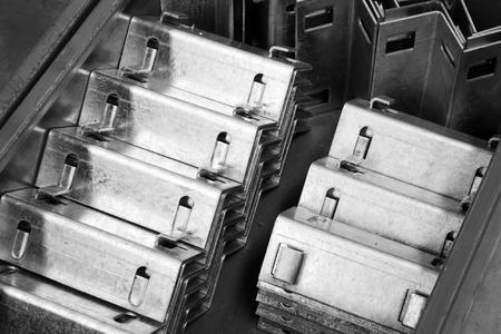 Roestvrij staal mechanische onderdelen, close-up van foto