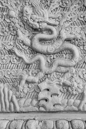 disrepair: Chinese traditional style rock carvings, closeup of photo