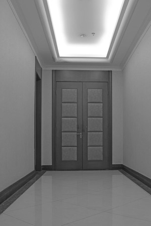 droplight: hotel corridor door, closeup of photo Stock Photo
