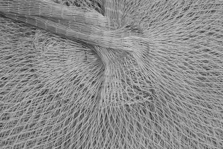 redes de pesca: Nylon fishing nets in a market, closeup of photo