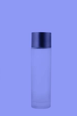 frosted glass: frosted glass bottle in white background, closeup of photo