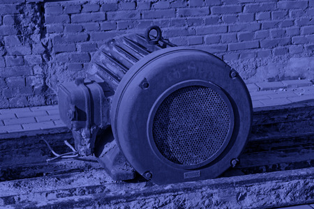Abandoned motor, closeup of photo Stock Photo