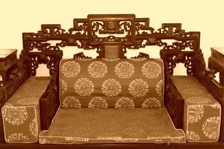 Chinese traditional style annatto seat, closeup of photo