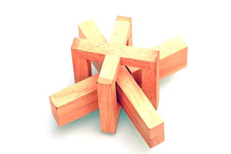 tenon: Wooden decoration in white background