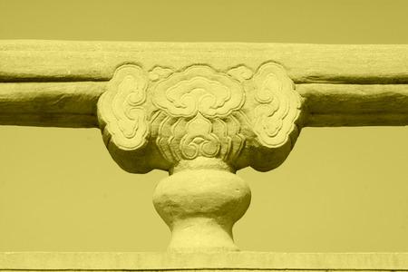 Bridge railings in ancient China, closeup of photo