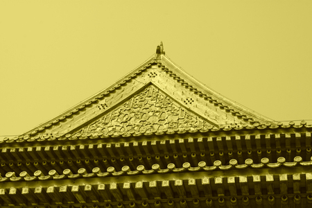 traditional Chinese style carved wooden architecture, closeup of photo Stock Photo