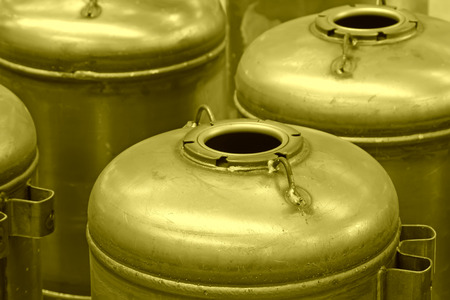 Stainless steel pressure tanks in a production workshop, closeup of photo Stock Photo