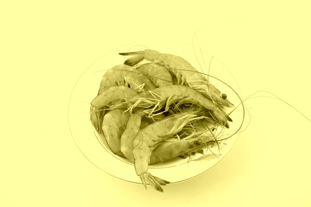 Fresh prawns in a white background, closeup of photo