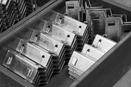 stainless steel sheet: Stainless steel mechanical parts, closeup of photo