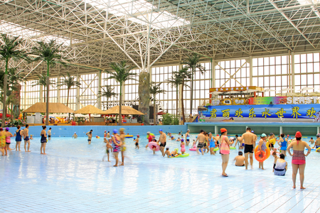 visitador medico: FengRun County - June 6: water slides in the indoor playground, on June 6, 2015, FengRun County, hebei province, China Editorial