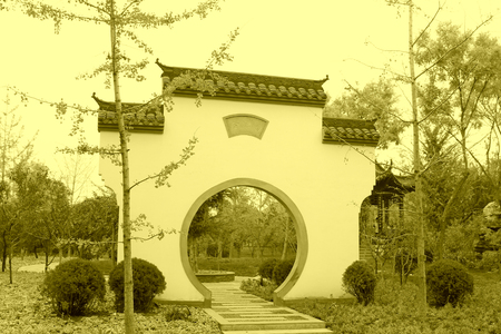 generalized: BEIJING - OCTOBER 23: gloriously enrolled architectural landscape in a park, on october 23, 2014, Beijing, China.