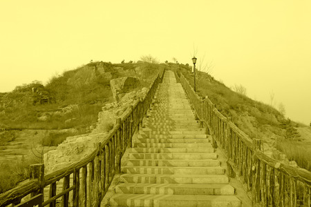 scenic spots: stairs and railing in a tourist attractions, closeup of photo Stock Photo