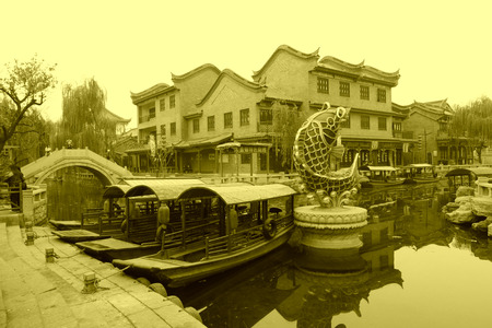 model fish: LUAN COUNTY - NOVEMBER 23: Archaize building landscape in Luanzhou city, on november 23, 2014, Luan County, Hebei Province, China