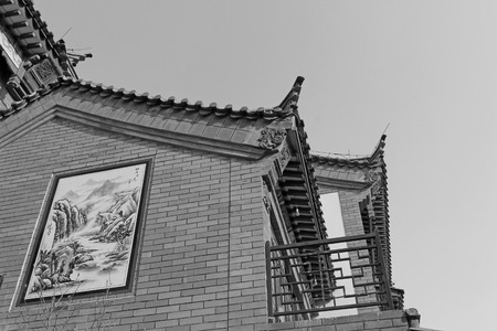Chinese traditional style grey brick building, closeup of photo Editorial