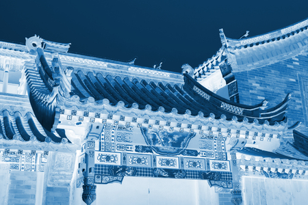 Chinese traditional style eaves, closeup of photo