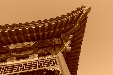 Traditional Chinese style pavilion eaves, closeup of photo