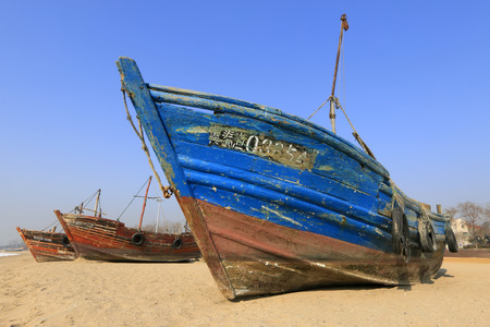 Wooden fishing boats on the beach