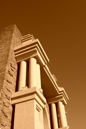 traditional style architecture pillar construction, closeup of photo