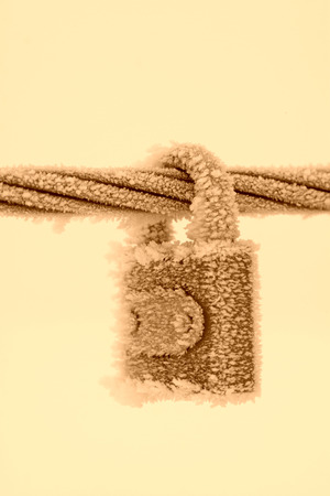 Wire rope and locks in the frost and snow, closeup of photo