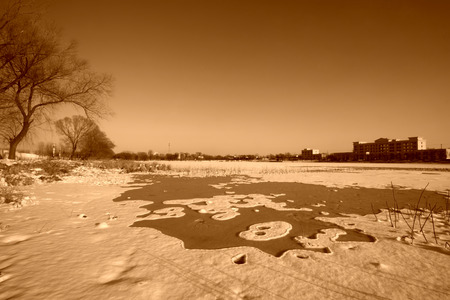 natural landscape, architecture and snow pattern, closeup of photo