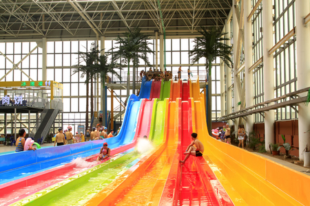 hebei: FengRun County - June 6: water slides in the indoor playground, on June 6, 2015, FengRun County, hebei province, China Editorial