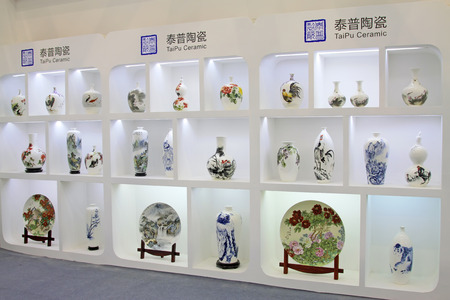 droplight: September 16: fine ceramic products in a store , tangshan city, hebei province, China Editorial