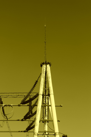telephone poles: Electric power equipment in a substation, closeup of photo Stock Photo