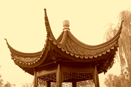 Chinese architectural style pavilion, closeup of photo Stok Fotoğraf