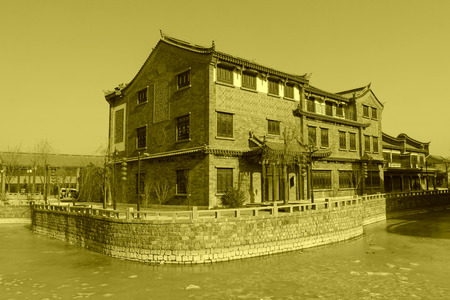 river county: antique buildings and river channel in a ancient city, closeup of photo