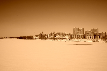 buildings in the snow, closeup of photo Stock Photo