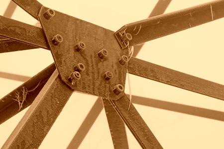 Pylon steel screw in the frost and snow, closeup of photo 版權商用圖片