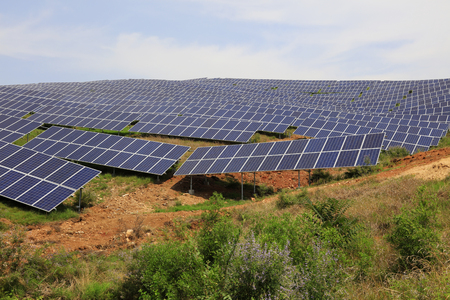 solar panel on the hillside, closeup of photo Stock Photo